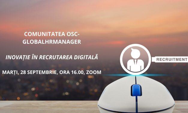 Inovația în recrutarea digitală este tema întâlnirii din luna septembrie a Comunității OSC-HRManager